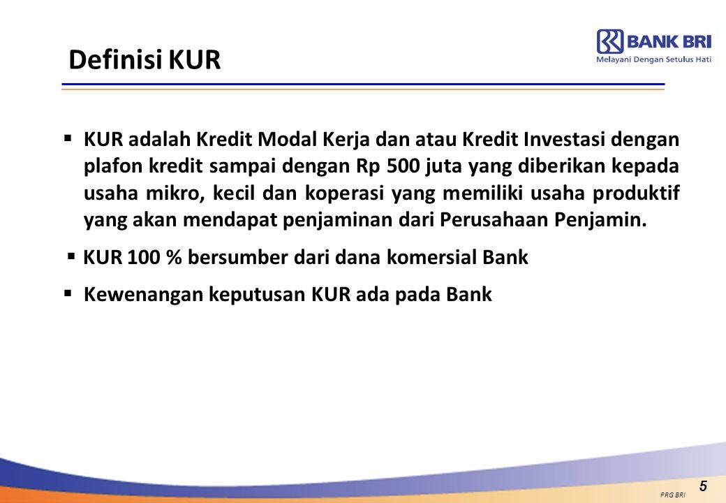 5 Definisi KUR  KUR adalah Kredit Modal Kerja dan atau Kredit Investasi dengan plafon kredit sampai dengan Rp 500 juta yang diberikan kepada usaha mi