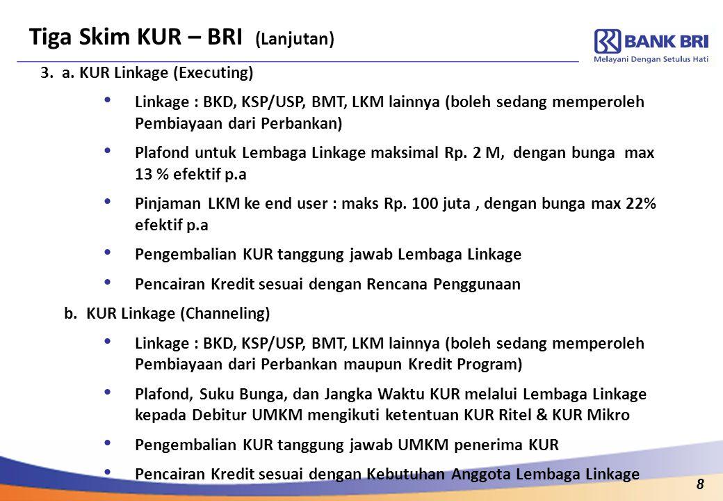8 Tiga Skim KUR – BRI (Lanjutan) 3. a. KUR Linkage (Executing) Linkage : BKD, KSP/USP, BMT, LKM lainnya (boleh sedang memperoleh Pembiayaan dari Perba
