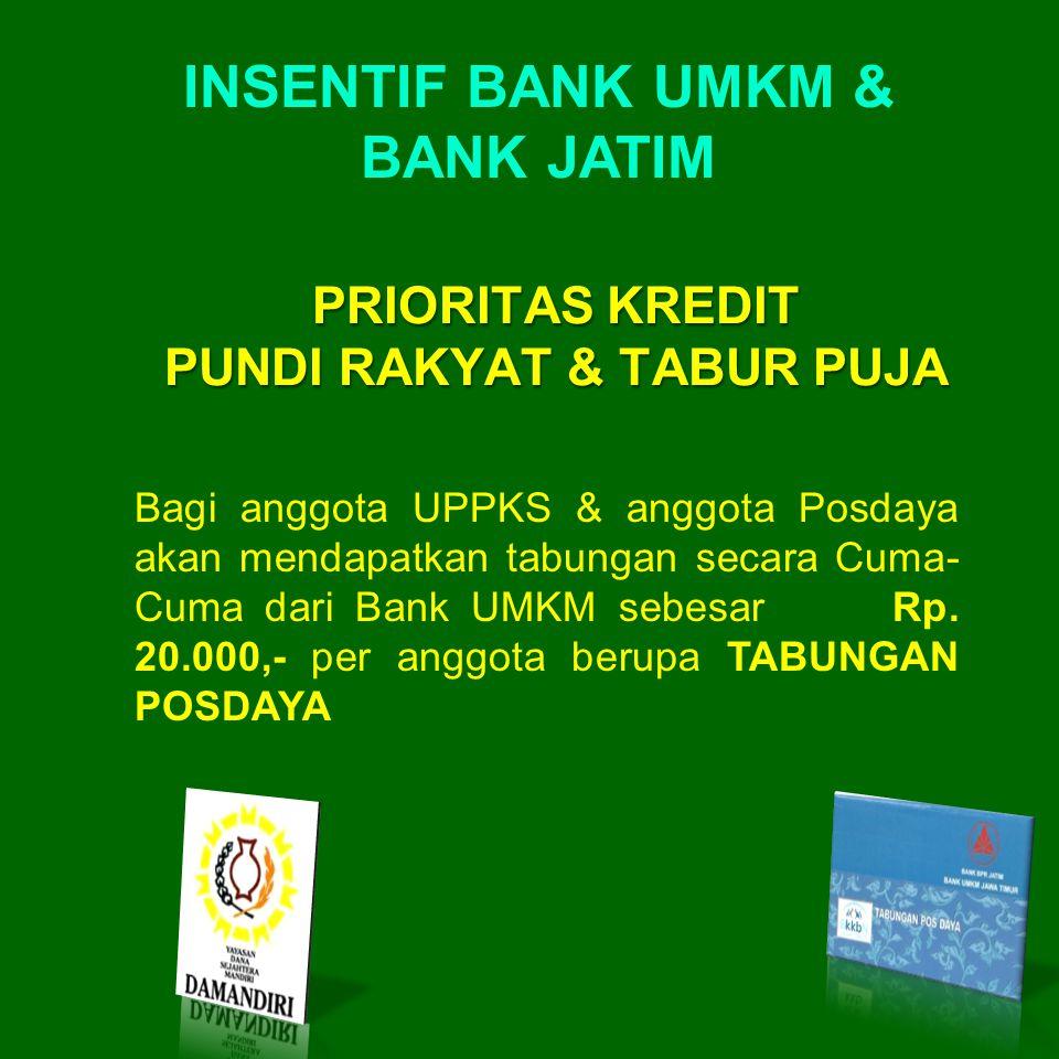 Bagi anggota UPPKS & anggota Posdaya akan mendapatkan tabungan secara Cuma- Cuma dari Bank UMKM sebesar Rp. 20.000,- per anggota berupa TABUNGAN POSDA