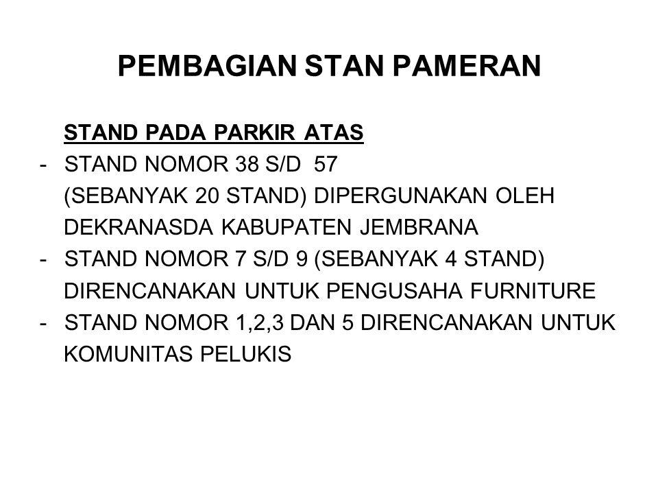PEMBAGIAN STAN PAMERAN STAND PADA PARKIR ATAS -STAND NOMOR 38 S/D 57 (SEBANYAK 20 STAND) DIPERGUNAKAN OLEH DEKRANASDA KABUPATEN JEMBRANA -STAND NOMOR 7 S/D 9 (SEBANYAK 4 STAND) DIRENCANAKAN UNTUK PENGUSAHA FURNITURE -STAND NOMOR 1,2,3 DAN 5 DIRENCANAKAN UNTUK KOMUNITAS PELUKIS