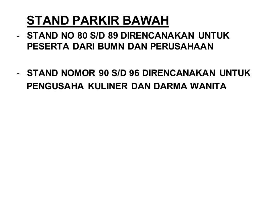 STAND PARKIR BAWAH -STAND NO 80 S/D 89 DIRENCANAKAN UNTUK PESERTA DARI BUMN DAN PERUSAHAAN -STAND NOMOR 90 S/D 96 DIRENCANAKAN UNTUK PENGUSAHA KULINER DAN DARMA WANITA