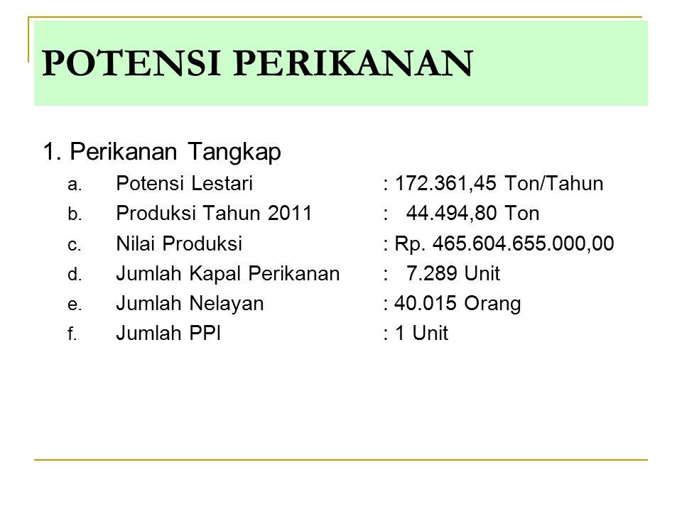 1. Perikanan Tangkap a. Potensi Lestari : 172.361,45 Ton/Tahun b. Produksi Tahun 2011: 44.494,80 Ton c. Nilai Produksi: Rp. 465.604.655.000,00 d. Juml