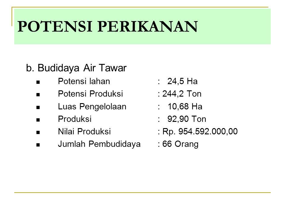 b. Budidaya Air Tawar Potensi lahan : 24,5 Ha Potensi Produksi: 244,2 Ton Luas Pengelolaan: 10,68 Ha Produksi : 92,90 Ton Nilai Produksi : Rp. 954.592