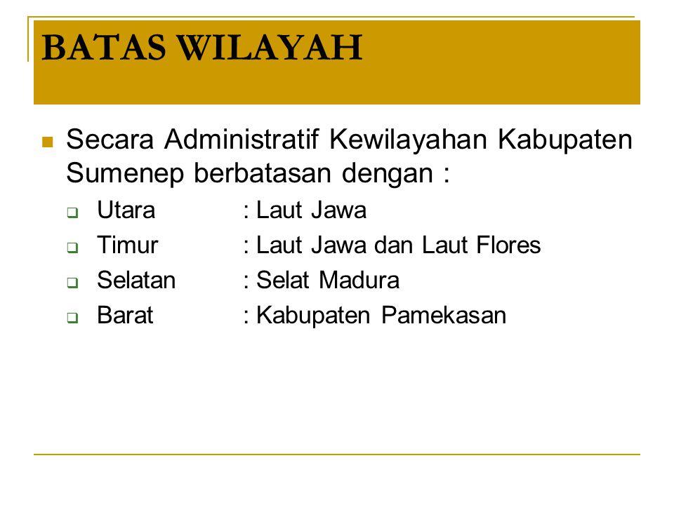 BATAS WILAYAH Secara Administratif Kewilayahan Kabupaten Sumenep berbatasan dengan :  Utara : Laut Jawa  Timur: Laut Jawa dan Laut Flores  Selatan