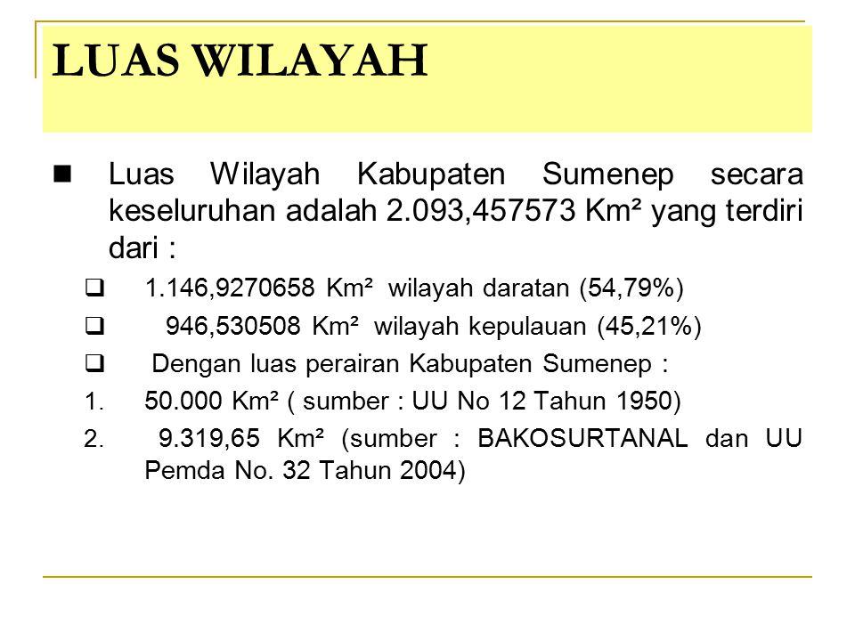 LUAS WILAYAH Luas Wilayah Kabupaten Sumenep secara keseluruhan adalah 2.093,457573 Km² yang terdiri dari :  1.146,9270658 Km² wilayah daratan (54,79%