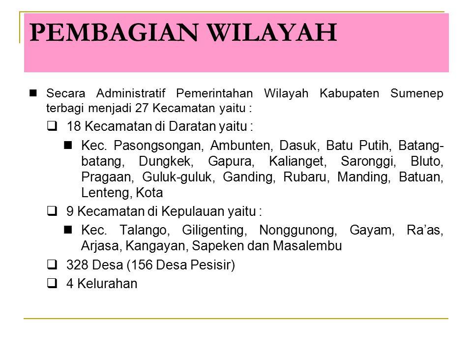 PEMBAGIAN WILAYAH Secara Administratif Pemerintahan Wilayah Kabupaten Sumenep terbagi menjadi 27 Kecamatan yaitu :  18 Kecamatan di Daratan yaitu : K