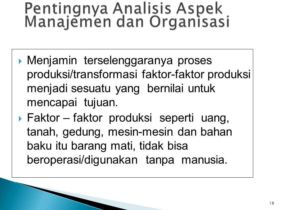  Menjamin terselenggaranya proses produksi/transformasi faktor-faktor produksi menjadi sesuatu yang bernilai untuk mencapai tujuan.  Faktor – faktor