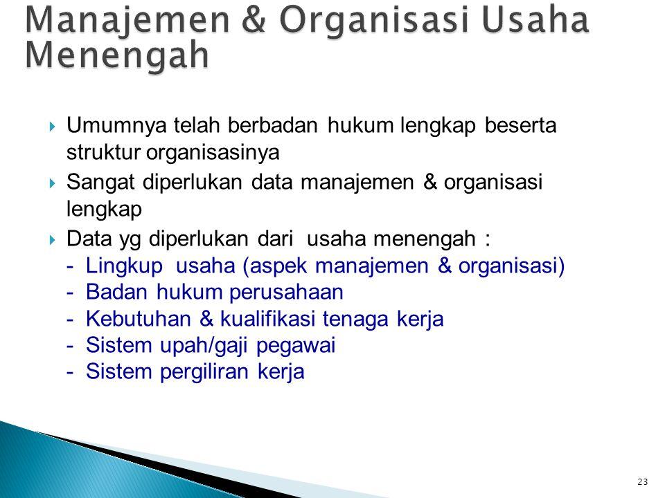  Umumnya telah berbadan hukum lengkap beserta struktur organisasinya  Sangat diperlukan data manajemen & organisasi lengkap  Data yg diperlukan dar