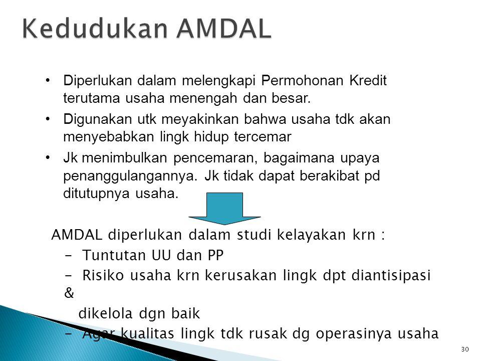 AMDAL diperlukan dalam studi kelayakan krn : - Tuntutan UU dan PP - Risiko usaha krn kerusakan lingk dpt diantisipasi & dikelola dgn baik - Agar kuali