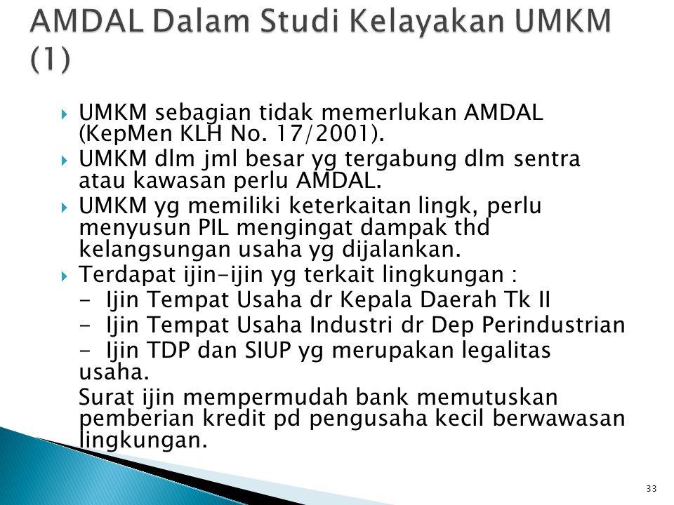  UMKM sebagian tidak memerlukan AMDAL (KepMen KLH No. 17/2001).  UMKM dlm jml besar yg tergabung dlm sentra atau kawasan perlu AMDAL.  UMKM yg memi