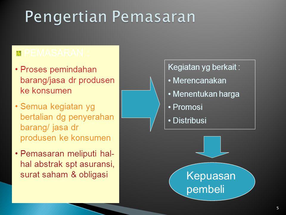 5 PEMASARAN : Proses pemindahan barang/jasa dr produsen ke konsumen Semua kegiatan yg bertalian dg penyerahan barang/ jasa dr produsen ke konsumen Pem