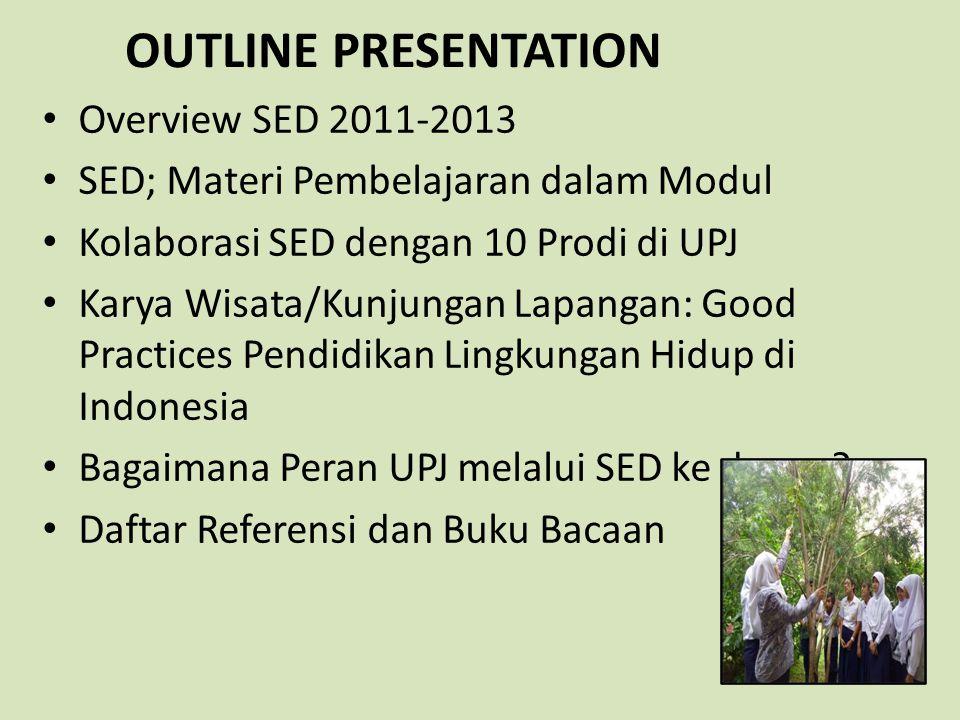 OUTLINE PRESENTATION Overview SED 2011-2013 SED; Materi Pembelajaran dalam Modul Kolaborasi SED dengan 10 Prodi di UPJ Karya Wisata/Kunjungan Lapangan
