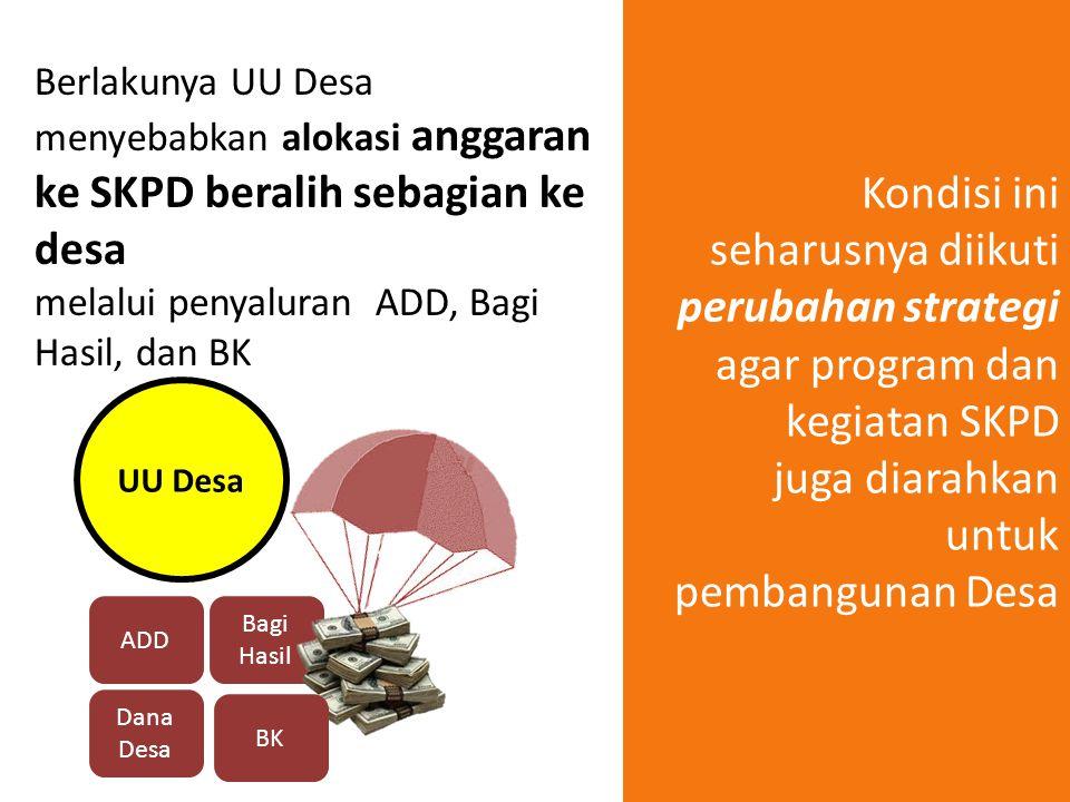 Berlakunya UU Desa menyebabkan alokasi anggaran ke SKPD beralih sebagian ke desa melalui penyaluran ADD, Bagi Hasil, dan BK Bagi Hasil UU Desa ADD Dan