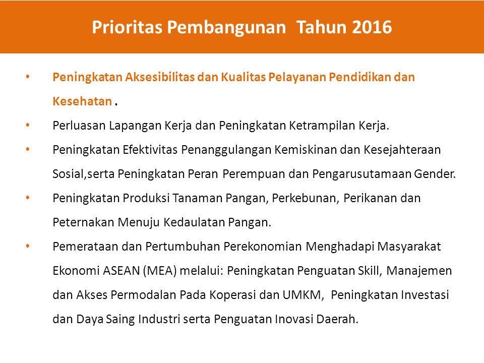 Prioritas Pembangunan Tahun 2016 Peningkatan Aksesibilitas dan Kualitas Pelayanan Pendidikan dan Kesehatan. Perluasan Lapangan Kerja dan Peningkatan K