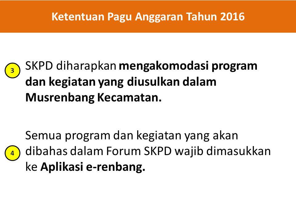 SKPD diharapkan mengakomodasi program dan kegiatan yang diusulkan dalam Musrenbang Kecamatan. Semua program dan kegiatan yang akan dibahas dalam Forum