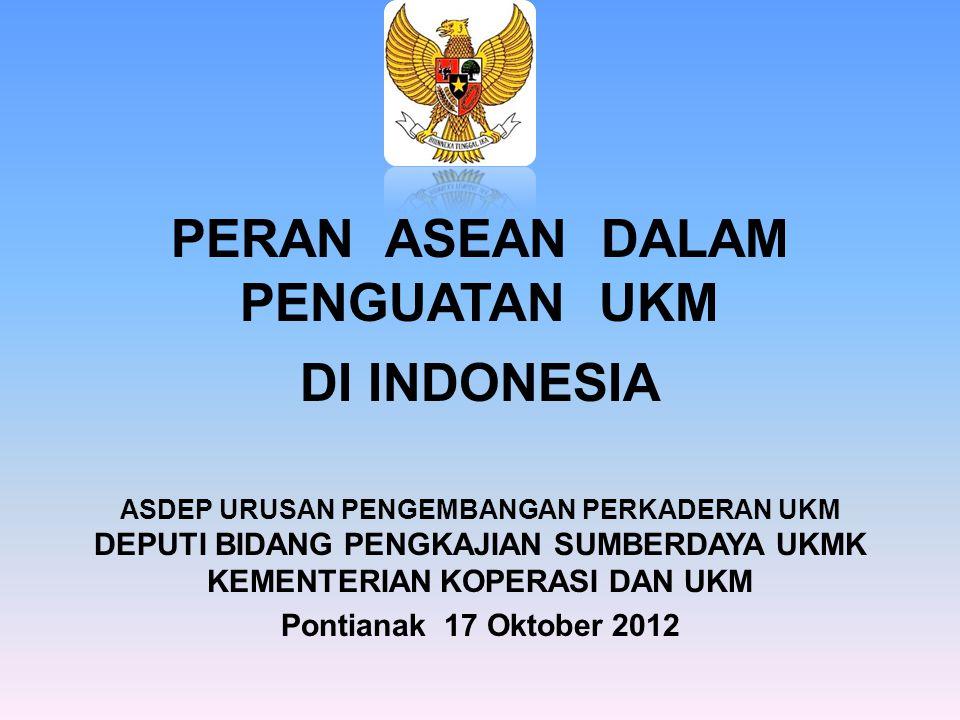 PERAN ASEAN DALAM PENGUATAN UKM DI INDONESIA ASDEP URUSAN PENGEMBANGAN PERKADERAN UKM DEPUTI BIDANG PENGKAJIAN SUMBERDAYA UKMK KEMENTERIAN KOPERASI DAN UKM Pontianak 17 Oktober 2012