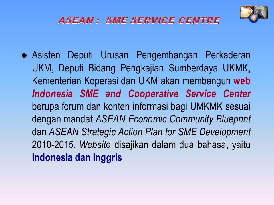● Asisten Deputi Urusan Pengembangan Perkaderan UKM, Deputi Bidang Pengkajian Sumberdaya UKMK, Kementerian Koperasi dan UKM akan membangun web Indonesia SME and Cooperative Service Center berupa forum dan konten informasi bagi UMKMK sesuai dengan mandat ASEAN Economic Community Blueprint dan ASEAN Strategic Action Plan for SME Development 2010-2015.