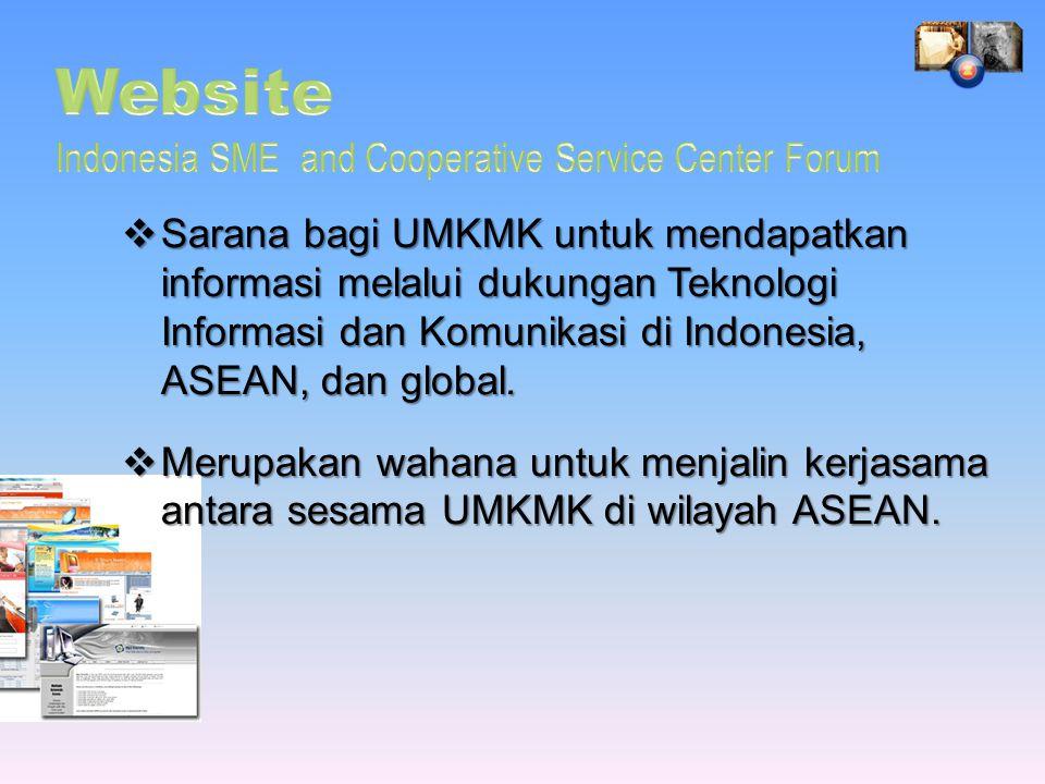  Sarana bagi UMKMK untuk mendapatkan informasi melalui dukungan Teknologi Informasi dan Komunikasi di Indonesia, ASEAN, dan global.