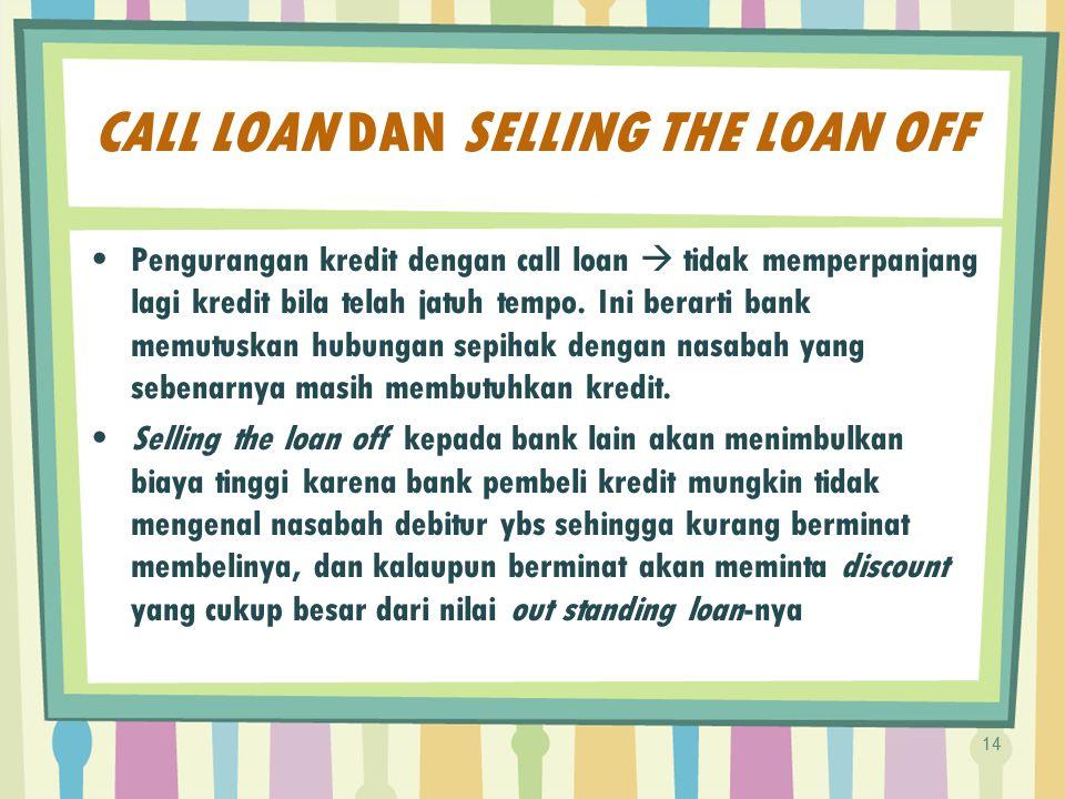 CALL LOAN DAN SELLING THE LOAN OFF Pengurangan kredit dengan call loan  tidak memperpanjang lagi kredit bila telah jatuh tempo. Ini berarti bank memu