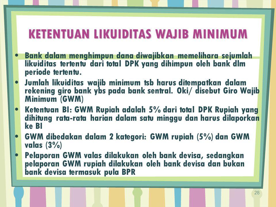KETENTUAN LIKUIDITAS WAJIB MINIMUM Bank dalam menghimpun dana diwajibkan memelihara sejumlah likuiditas tertentu dari total DPK yang dihimpun oleh ban