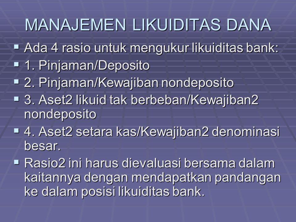 MANAJEMEN LIKUIDITAS DANA  Ada 4 rasio untuk mengukur likuiditas bank:  1. Pinjaman/Deposito  2. Pinjaman/Kewajiban nondeposito  3. Aset2 likuid t