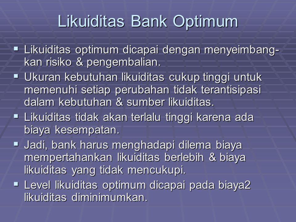 Likuiditas Bank Optimum  Likuiditas optimum dicapai dengan menyeimbang- kan risiko & pengembalian.  Ukuran kebutuhan likuiditas cukup tinggi untuk m