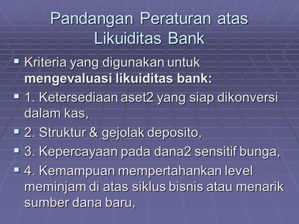 Pandangan Peraturan atas Likuiditas Bank  Kriteria yang digunakan untuk mengevaluasi likuiditas bank:  1. Ketersediaan aset2 yang siap dikonversi da