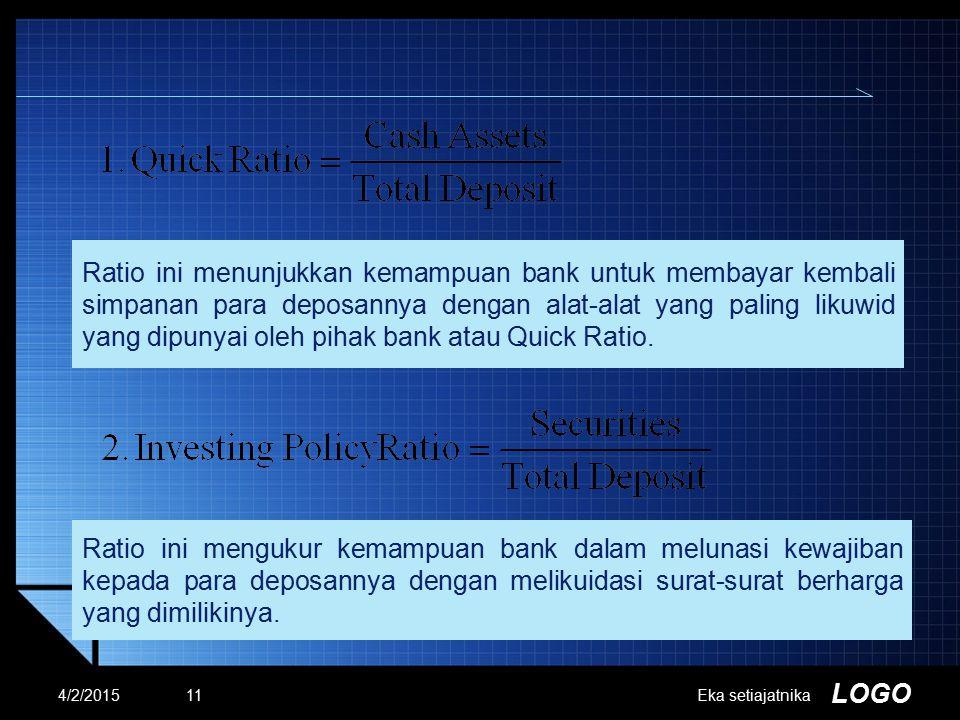 LOGO Ratio ini menunjukkan kemampuan bank untuk membayar kembali simpanan para deposannya dengan alat-alat yang paling likuwid yang dipunyai oleh piha