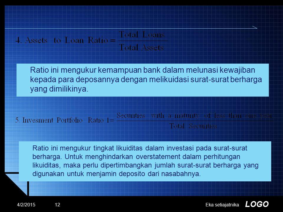 LOGO Ratio ini mengukur kemampuan bank dalam melunasi kewajiban kepada para deposannya dengan melikuidasi surat-surat berharga yang dimilikinya. 4/2/2