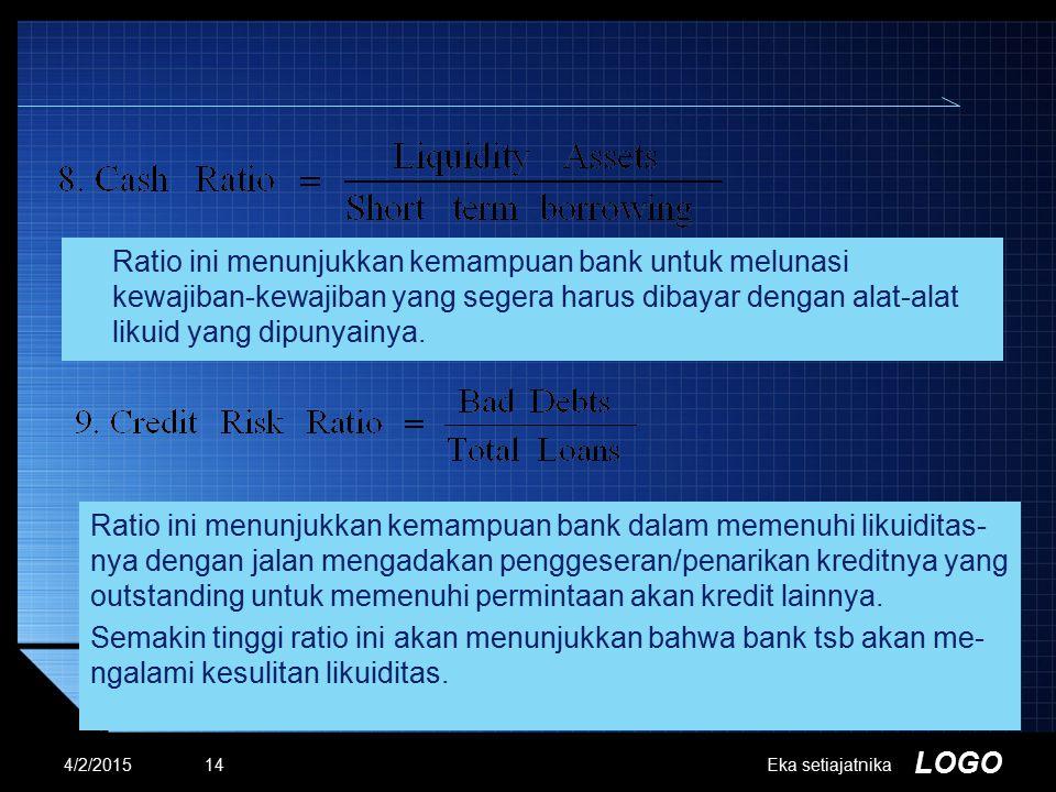 LOGO 4/2/2015Eka setiajatnika14 Ratio ini menunjukkan kemampuan bank untuk melunasi kewajiban-kewajiban yang segera harus dibayar dengan alat-alat lik