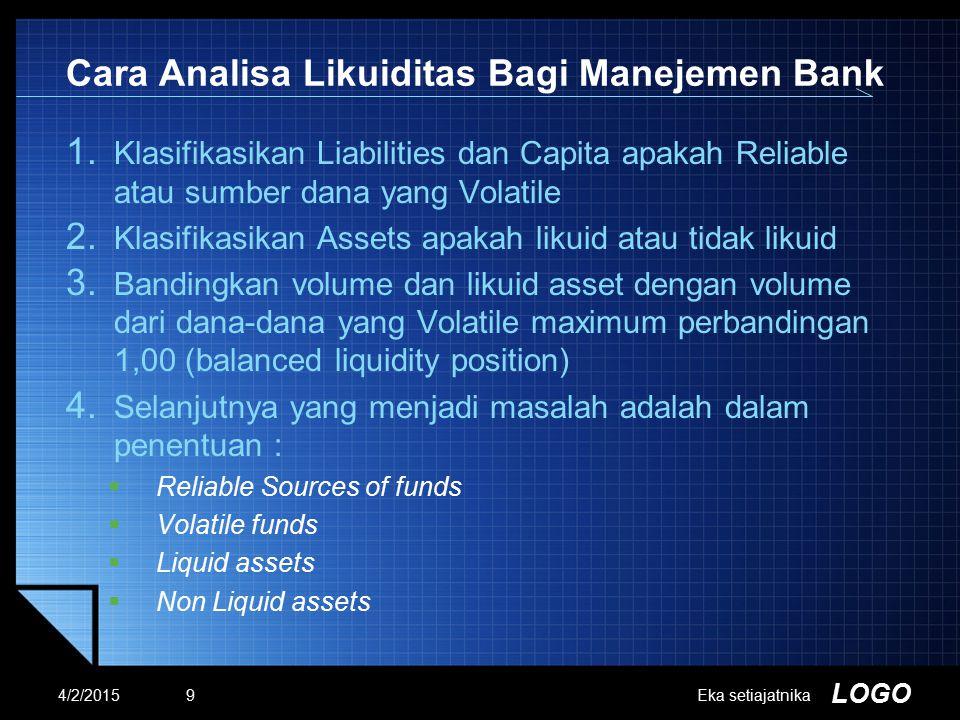 LOGO Cara Analisa Likuiditas Bagi Manejemen Bank 1. Klasifikasikan Liabilities dan Capita apakah Reliable atau sumber dana yang Volatile 2. Klasifikas
