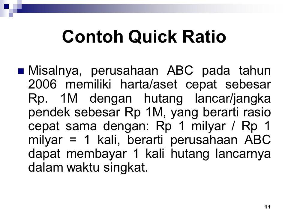 11 Contoh Quick Ratio Misalnya, perusahaan ABC pada tahun 2006 memiliki harta/aset cepat sebesar Rp. 1M dengan hutang lancar/jangka pendek sebesar Rp