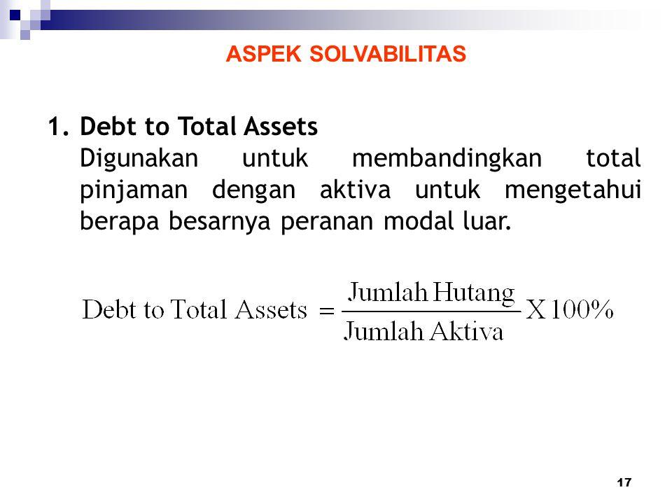17 ASPEK SOLVABILITAS 1.Debt to Total Assets Digunakan untuk membandingkan total pinjaman dengan aktiva untuk mengetahui berapa besarnya peranan modal