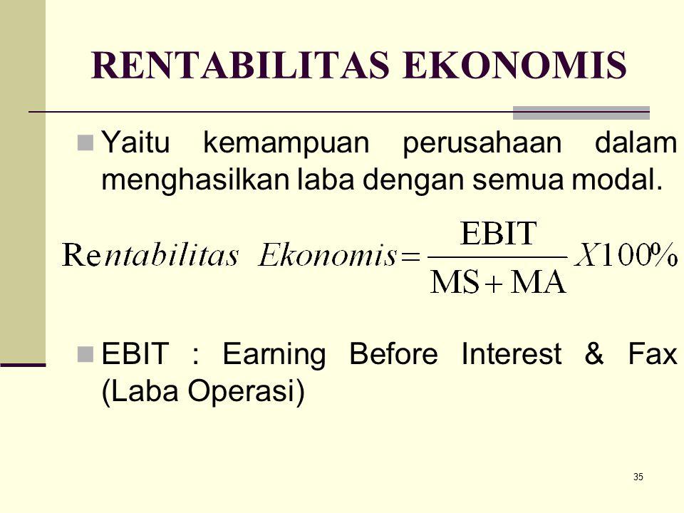35 RENTABILITAS EKONOMIS Yaitu kemampuan perusahaan dalam menghasilkan laba dengan semua modal. EBIT : Earning Before Interest & Fax (Laba Operasi)