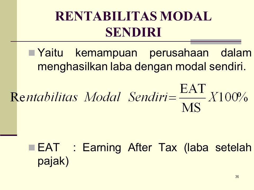 36 RENTABILITAS MODAL SENDIRI Yaitu kemampuan perusahaan dalam menghasilkan laba dengan modal sendiri. EAT : Earning After Tax (laba setelah pajak)