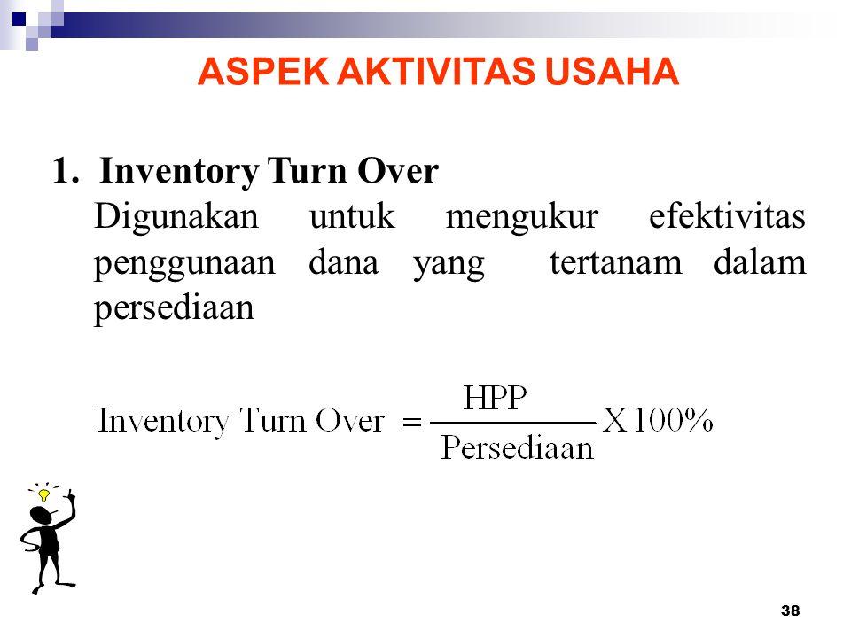 38 ASPEK AKTIVITAS USAHA 1. Inventory Turn Over Digunakan untuk mengukur efektivitas penggunaan dana yang tertanam dalam persediaan
