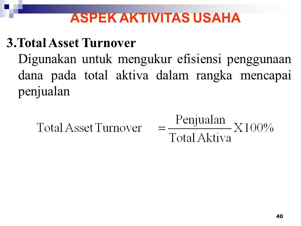 40 ASPEK AKTIVITAS USAHA 3.Total Asset Turnover Digunakan untuk mengukur efisiensi penggunaan dana pada total aktiva dalam rangka mencapai penjualan