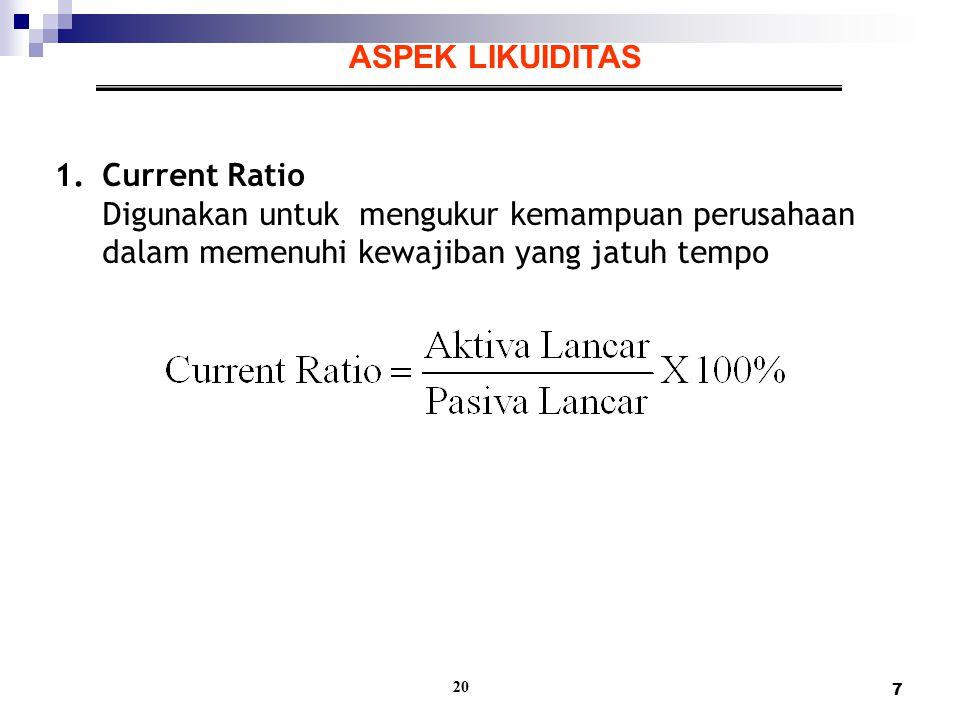 7 20 ASPEK LIKUIDITAS 1.Current Ratio Digunakan untuk mengukur kemampuan perusahaan dalam memenuhi kewajiban yang jatuh tempo