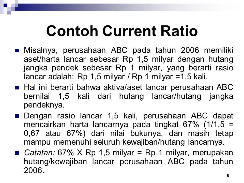 8 Contoh Current Ratio Misalnya, perusahaan ABC pada tahun 2006 memiliki aset/harta lancar sebesar Rp 1,5 milyar dengan hutang jangka pendek sebesar R