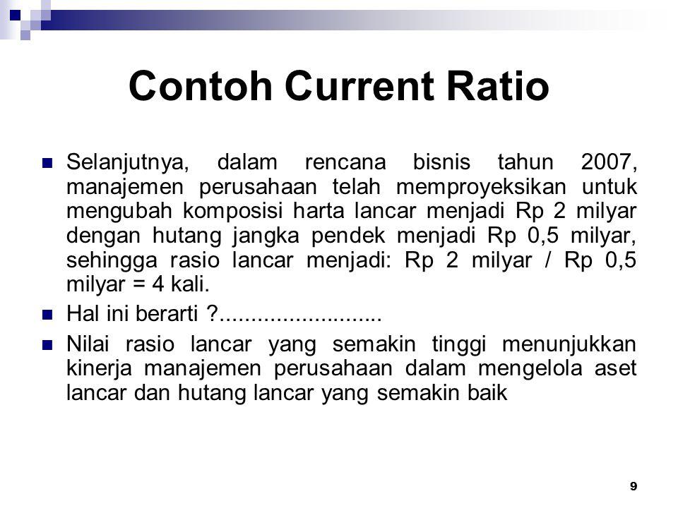 9 Contoh Current Ratio Selanjutnya, dalam rencana bisnis tahun 2007, manajemen perusahaan telah memproyeksikan untuk mengubah komposisi harta lancar m