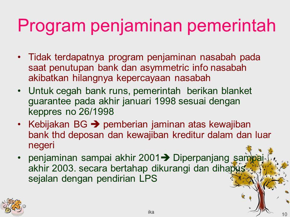 ika 10 Program penjaminan pemerintah Tidak terdapatnya program penjaminan nasabah pada saat penutupan bank dan asymmetric info nasabah akibatkan hilan