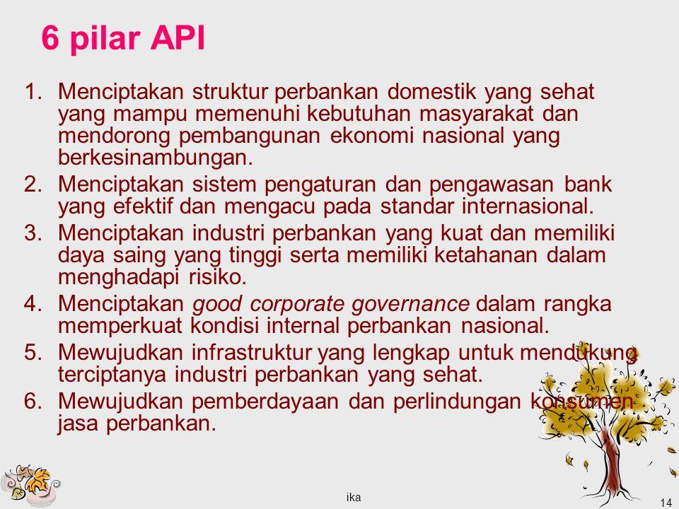 ika 14 6 pilar API 1.Menciptakan struktur perbankan domestik yang sehat yang mampu memenuhi kebutuhan masyarakat dan mendorong pembangunan ekonomi nasional yang berkesinambungan.
