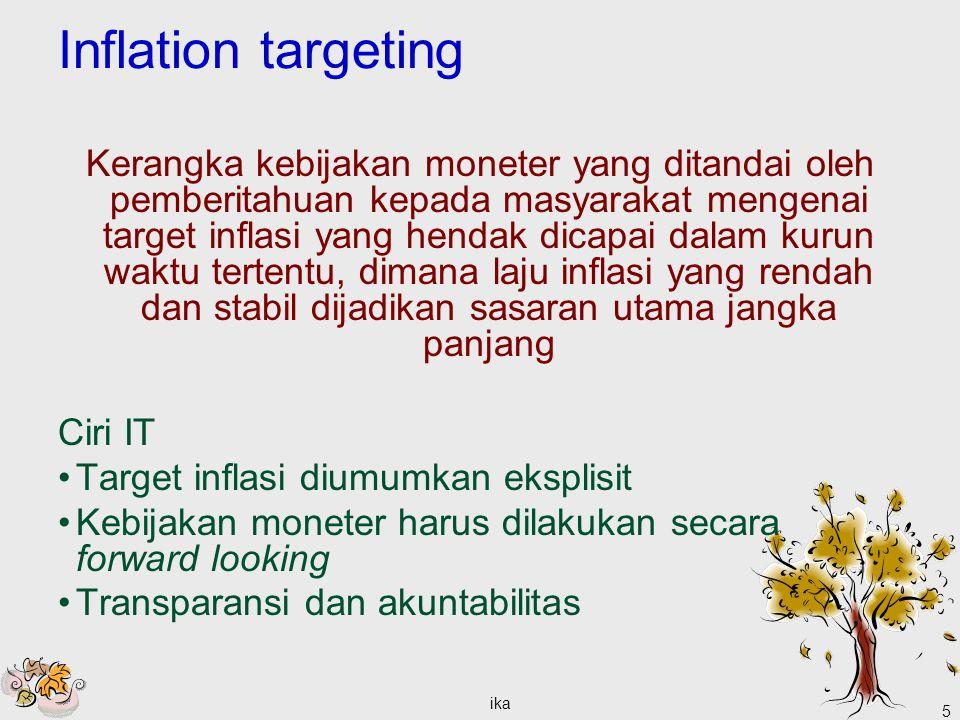 ika 5 Inflation targeting Kerangka kebijakan moneter yang ditandai oleh pemberitahuan kepada masyarakat mengenai target inflasi yang hendak dicapai da
