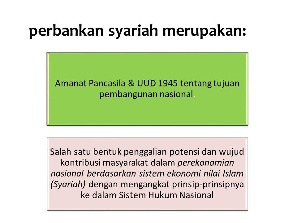 perbankan syariah merupakan: Amanat Pancasila & UUD 1945 tentang tujuan pembangunan nasional.