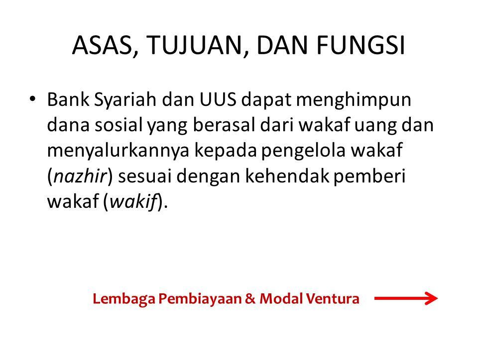 ASAS, TUJUAN, DAN FUNGSI Bank Syariah dan UUS dapat menghimpun dana sosial yang berasal dari wakaf uang dan menyalurkannya kepada pengelola wakaf (nazhir) sesuai dengan kehendak pemberi wakaf (wakif).