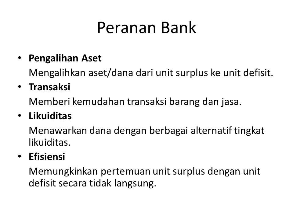 Peranan Bank Pengalihan Aset Mengalihkan aset/dana dari unit surplus ke unit defisit.
