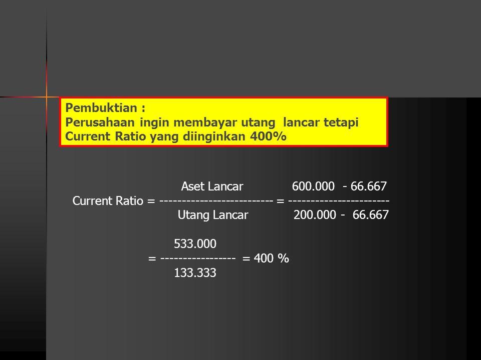 Aset Lancar 600.000 - 66.667 Current Ratio = -------------------------- = ----------------------- Utang Lancar 200.000 - 66.667 533.000 = ------------