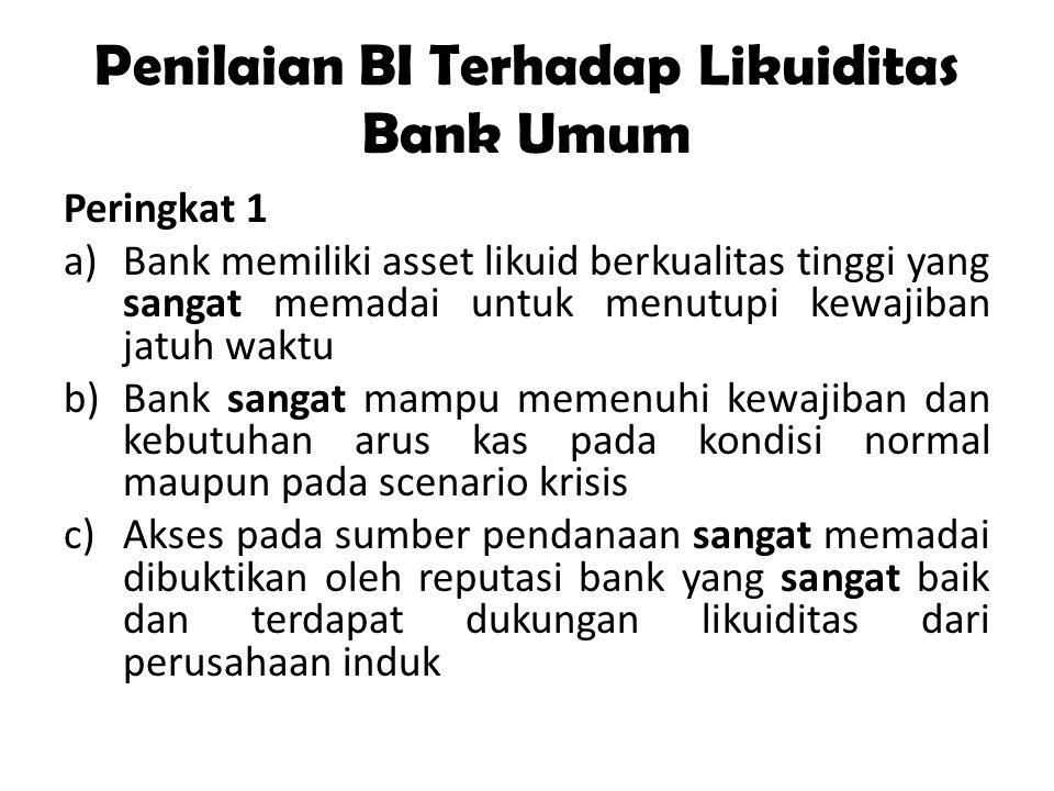 Penilaian BI Terhadap Likuiditas Bank Umum Peringkat 2 a)Bank memiliki asset likuid yang memadai untuk menutupi kewajiban jatuh waktu b)Bank mampu memenuhi kewajiban dan kebutuhan arus kas pada kondisi normal maupun pada scenario krisis c)Akses pada sumber pendanaan memadai dibuktikan oleh reputasi bank yang baik dan terdapat dukungan likuiditas dari perusahaan induk