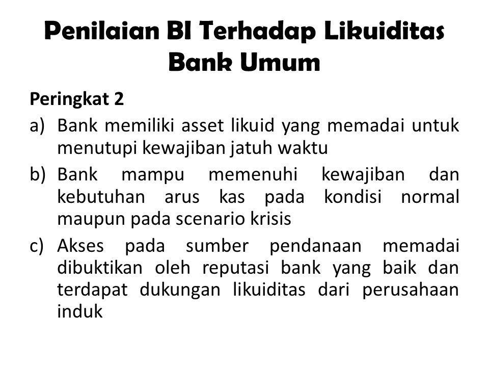 Penilaian BI Terhadap Likuiditas Bank Umum Peringkat 2 a)Bank memiliki asset likuid yang memadai untuk menutupi kewajiban jatuh waktu b)Bank mampu mem