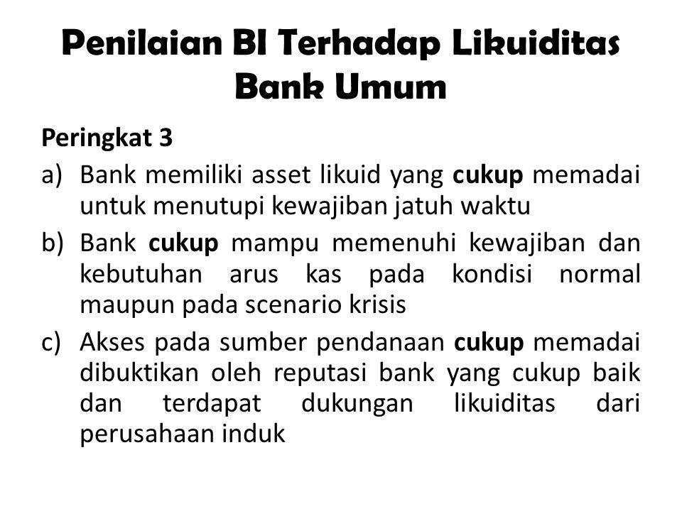 Penilaian BI Terhadap Likuiditas Bank Umum Peringkat 3 a)Bank memiliki asset likuid yang cukup memadai untuk menutupi kewajiban jatuh waktu b)Bank cuk
